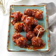 Barbecue Glazed Meatballs Recipe from Taste of Home -- shared by Anna Finley of Columbia, Missouri