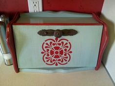 Blue and red bread box.