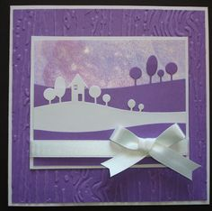 Hand made birthday card using memory box modern landscape die