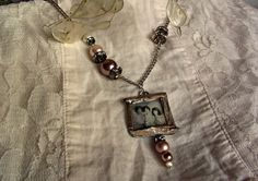 Shabby gift custom photo jewelry, personalized picture necklace, Memory photo pendant pearls necklace, Anniversary gift, mothers day jewelry