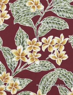 Tropical floral fabric: Plumeria flowers on a maroon-rust background. Cotton. By HawaiianFabricNBYond.Etsy.com