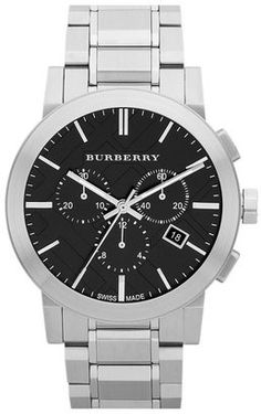Burberry Check Stamped Chronograph Bracelet Watch 42mm #watches #womens