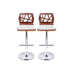 Buy Set of 2 PU Leather Wooden Kitchen Bar Stool Padded Seat White -