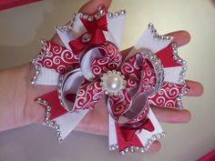 Valentines boutique Hair Bow with Rhinestones, bling
