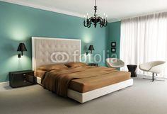 Fotobehang chique luxe hotel met een groen, oranje, slaapkamer, met kroonluchter - 3d • PIXERS.nl