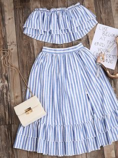 Shop Striped Flyaway Bandeau Top And Ruffle Skort Set online. SheIn offers Striped Flyaway Bandeau Top And Ruffle Skort Set & more to fit your fashionable needs. Mode Outfits, Dress Outfits, Girl Outfits, Casual Outfits, Fashion Dresses, Fashion Clothes, Look Fashion, Girl Fashion, Womens Fashion
