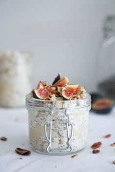 Fig, Tahini & Honey Overnight Oats #healthy #breakfast #recipe #raw #vegan #oats