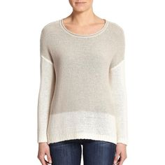 Joie Nyota Colorblock Sweater ($100) ❤ liked on Polyvore featuring tops, sweaters, apparel & accessories, smokey quartz porcelain, ribbed sweater, colorblock sweater, pink pullover, colorblock top and sweater pullover