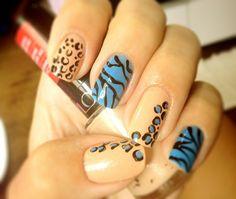 Zebra and jaguar nails