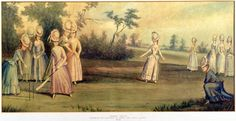 Cricket Match Played by the Countess of Derby and Other Ladies, 1779 - History of women& cricket - Wikipedia Georgian Era, Cricket Match, 18th Century Fashion, Textiles, Regency Era, Costume, Badminton, Archery, Bowling