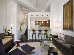 small studio apartment furniture with dark hard wood floor ideas