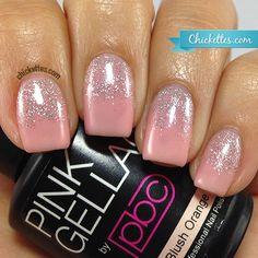 Gel polish glitter gradient using Pink Gellac Blush Orange and Fabulous Silver