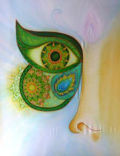 """""""Termékeny lehetőség"""" / """"productive opportunities""""  silk painting 66 x 77 cm Ildika ALDA Fazekas"""