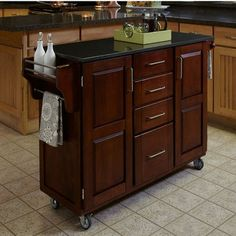 Home Styles Cherry Kitchen Island Cart with Black Granite Top Small Portable Kitchen Island, Kitchen Island Cart, Kitchen Tops, Kitchen Carts, Kitchen Islands, Kitchen Ideas, Portable Island, Dirty Kitchen, Kitchen Cabinets