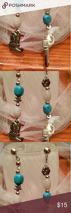 """Handmade Pistol Boot Earrings New! Real stones and silver charms. 3"""" drops JennAKrause Collection  Jewelry Earrings"""