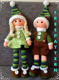 Doll Amigurumi Free Pattern, Crochet Dolls Free Patterns, Christmas Crochet Patterns, Christmas Knitting, Amigurumi Doll, Kawaii Crochet, Cute Crochet, Crochet Toys, Christmas Elf Doll