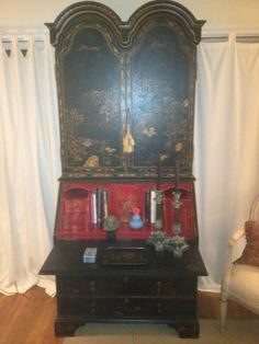 Chinoiserie Secretary Desk Black with Red Lacquer | eBay