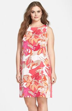 Vince+Camuto+Print+Sleeveless+Crepe+Sheath+Dress+(Plus+Size)+available+at+#Nordstrom