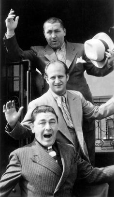 Three Stooges at South Station Moe Howard, Larry Fine, and Curly Howard