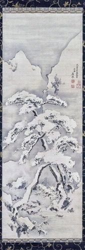 Maruyama Okyo Japanese, 1733-1795.  Snow-covered Tree, 1782.  Hanging scroll; color on paper.  Ackland Art Museum, The University of North Carolina at Chapel Hill