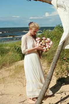 Cream tulle and peach lace bridal gownwedding dress  by DGstyle, $225.00