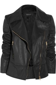 Gucci jacket: black coated cotton-blend, notched lapel, motocross stitching at elbows, zip-fastening cuffs, slant zip-fastening pockets, designer-stamped leather plaque, fully lined. Asymmetric zip fastening through front. 90% cotton, 8% polyurethane, 2% elastane; lining: 100% viscose. Hand wash reverse side.
