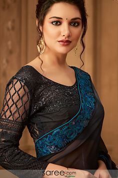 Tone an impression ineffable and indescribable clad in this Black Color Kasab Georgette Designer Blouse with Party Wear Saree. the ethnic heavy embroidered Beauty Full Girl, Beauty Women, Lehenga, Anarkali, Party Wear Sarees Online, Trendy Sarees, Black Saree, Beautiful Girl Photo, Beautiful Wife