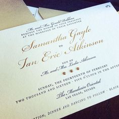 #Repost @andreaeppolito  Nothing like a super luxe invitation from Paper & Home to get me in the mood for a wedding... Can I say that I LOVE the golden crystals?  And if you saw the entire suite....Every single piece is letterpressed to perfection!  Wedding coming soon @mo_lasvegas | Planned & Designed by @andreaeppolito | Stationery by @paperandhome  #Wedding #vegas #vegaswedding #luxurywedding #instagwedding #instagood #likeforlike #tagforlikes #dreamwedding #weddinginspiration #stationery…