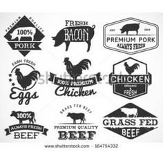 A set of labels for butchery Icons of beef, pork, lamb and chicken #