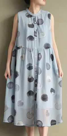 2017 new blue dotted print chiffon sundress plus size casual shirts dresses