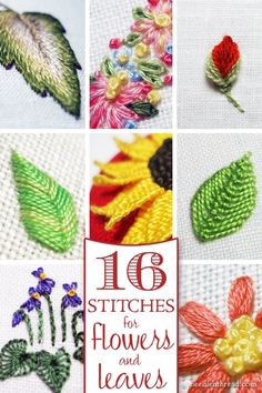 Tutorials for Hand Embroidered Leaves & Flowers Do you want to add more variety to your hand embroidery by stitching different types of flowers & leaves? Here are sixteen different ways that you can embroider leaves and flower petals! Hand Embroidery Projects, Embroidery Leaf, Embroidery Stitches Tutorial, Silk Ribbon Embroidery, Hand Embroidery Designs, Vintage Embroidery, Embroidery Techniques, Cross Stitch Embroidery, Simple Embroidery