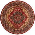 Mahal Navy/Red (Blue/Red) 6 ft. 7 in. x 6 ft. 7 in. Round Area Rug