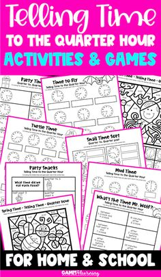 Telling Time to the Quarter Hour Games, Cut and Paste and Color by Code Telling Time Activities, Number Activities, Activity Games, Math Games, Cut And Paste Worksheets, Fun Math, Math Lessons, Math Centers, Second Grade