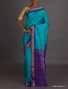 Supraja Light And Dark Blue Intricate #SambalpuriSilkSaree