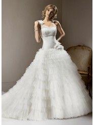 Tulle One-shoulder Neckline Ball Gown Wedding Dress