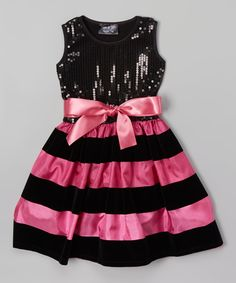 This Black & Pink Stripe Sequin Bow Dress - Infant, Toddler & Girls by Dreaming Kids is perfect! #zulilyfinds