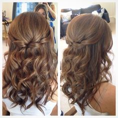 Half up half down hair, wedding hair, pretty hair but with softer curls