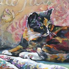 Karen Mathison Schmidt - nicely done with warm and cool tones on a black cat!