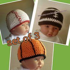 Sport hats for babies newborn gift set set of 3 by BeautyOfCrochet, $36.00