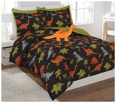 Twin & Full 6 Pcs or 8 Pcs Comforter/ Coverlet / Bed in Bag Set with Toy (Full, Dinosaur)