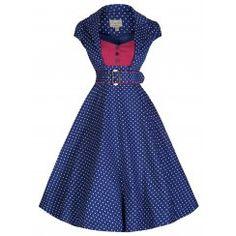 'Geneva' Contrasting Polka Dot Tailored 50's Rockabilly Dress