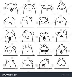 Set of 20 different doodle emotions cat. Smile for design. bewilderment # Cats anime Set 20 Different Doodle Emotions Cat Stock Vector (Royalty Free) 307104881 Funny Drawings, Doodle Drawings, Easy Drawings, Doodle Art, Flower Drawings, Kawaii Doodles, Cute Doodles, Funny Doodles, Step By Step Drawing