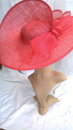 Items similar to Bella.Stunning Flamingo/Coral Sinamay split disc hatinator with Bow & loops. on Etsy Red Fascinator, Sinamay Hats, Millinery Hats, Fascinators, African Hats, Classic Hats, Church Hats, Fancy Hats, Kentucky Derby Hats