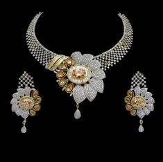 CZ AD Indian Necklace Bollywood 15% Discount Golden & Silver Swam Jewelry Set915