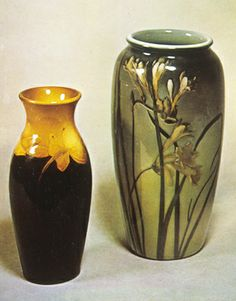 "Rookwood Vases, Earthenware with colored slips, 8.25"" ht., 1900"