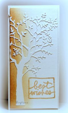 gorgeous handmade card from Rapport från ett skrivbord: CAS-ual Fridays 86 ... Memory Box tree die cut in white on a ombre inked column ... artistic look  ... luv it!!!