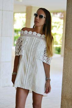 abito bianco ricamato - white lace dress