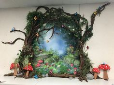 beautiful library decoration for enchanted forest - - murals - Forest party theme Enchanted Forest Room, Enchanted Forest Decorations, Enchanted Garden, Forest Book, Magic Forest, Forest Fairy, Dark Forest, Forest Classroom, Garden Mural