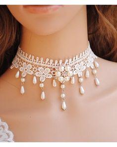 Hand Made White Lace Beads Lolita Choker