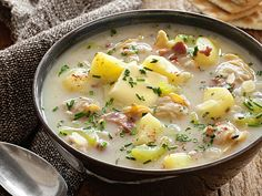 Low-Fat Clam Chowder from #FNMag #myplate #protein #dairy